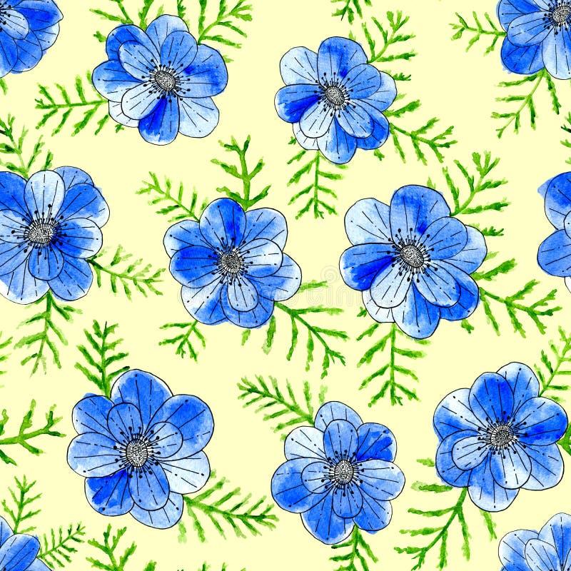 Flores azuis da aquarela com as folhas isoladas no fundo amarelo Ilustra??o pintado ? m?o do esbo?o ilustração do vetor