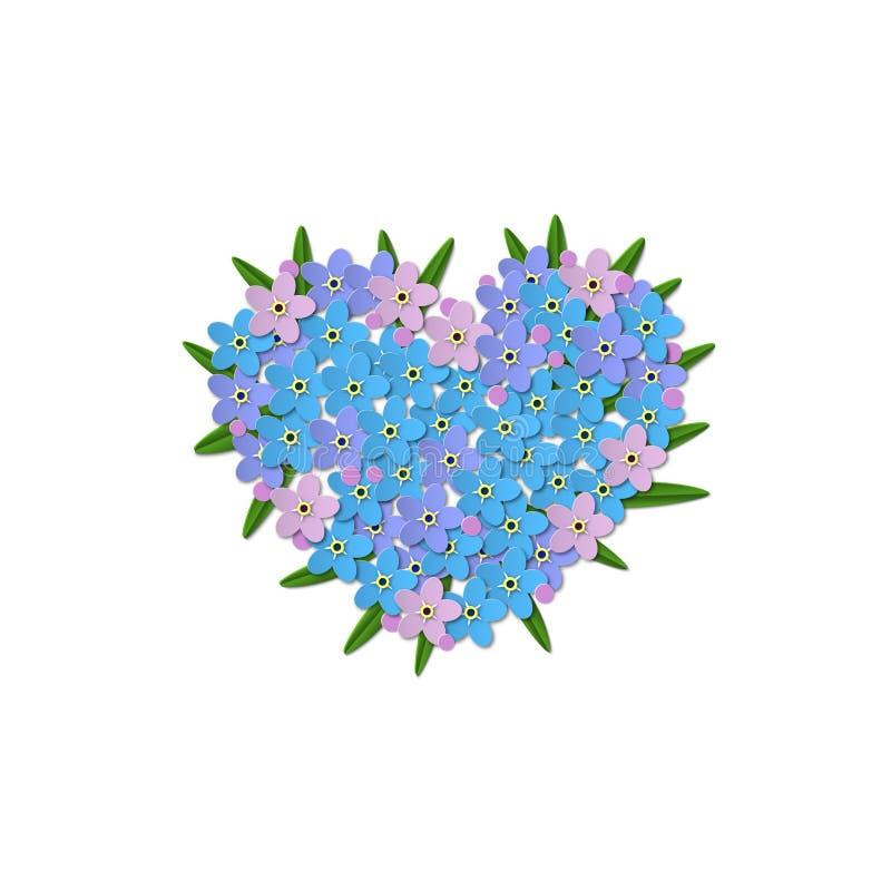 Flores azuis do miosótis com folhas em um fundo branco Projeto dado forma coração no centro Vetor do corte do papel ilustração do vetor