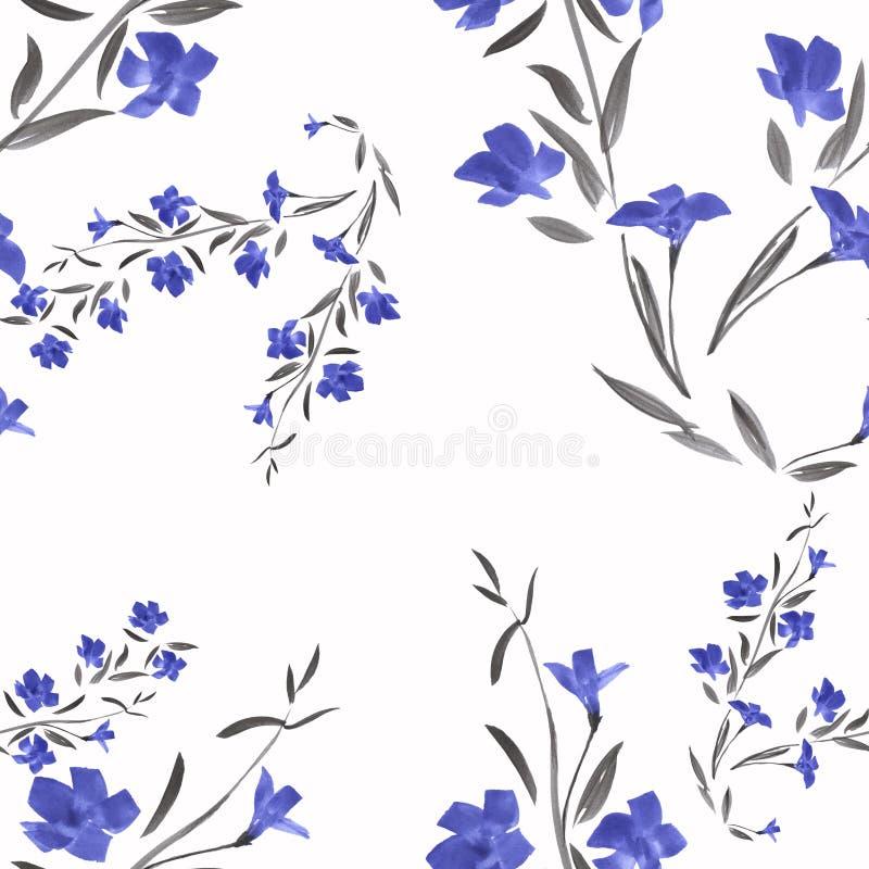 Flores azuis do teste padrão sem emenda em um fundo branco ilustração stock