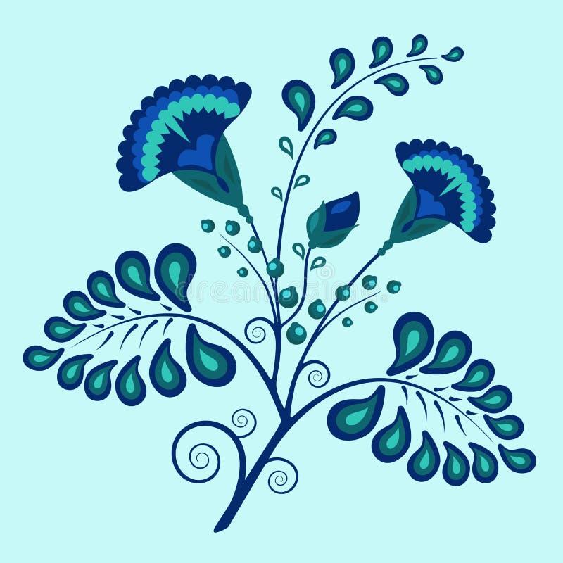 Flores azuis dos azuis celestes do estilo étnico ornamentado floral do teste padrão ilustração royalty free
