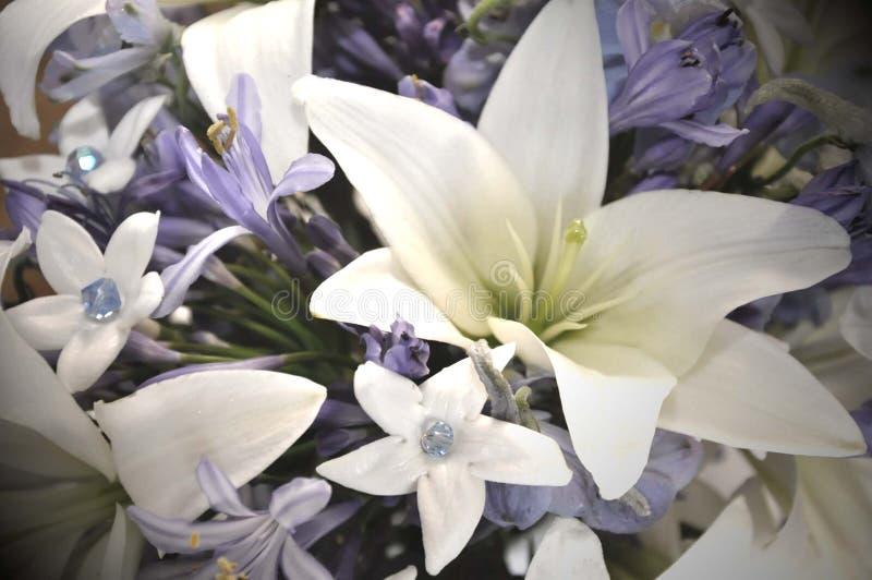 Flores azuis e brancas do casamento foto de stock royalty free
