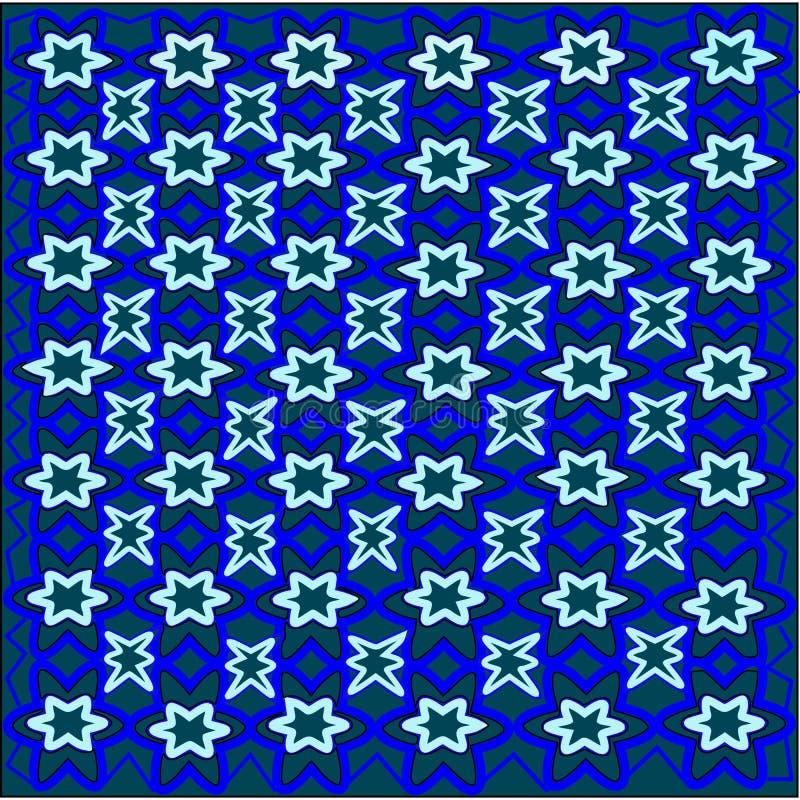 Flores azuis e flores do folha e as brancas tecidas em um teste padrão em um fundo verde ilustração royalty free