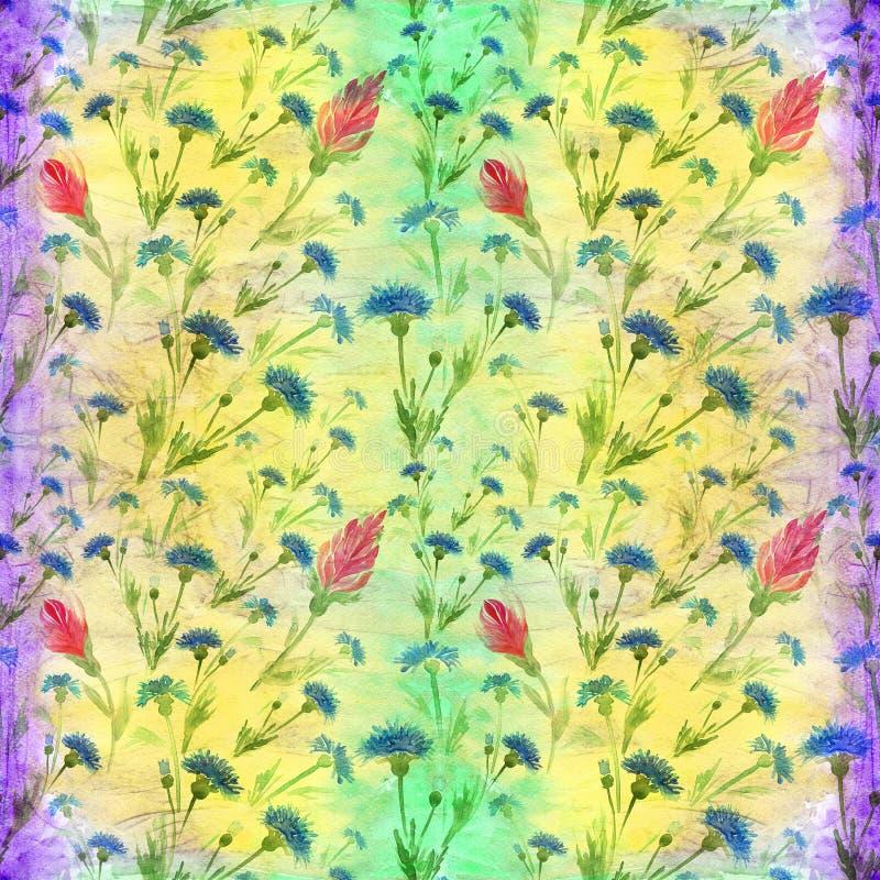Flores azuis e vermelhas no fundo da aquarela Pintura da aguarela wallpaper Teste padrão sem emenda Use materiais impressos, si ilustração do vetor