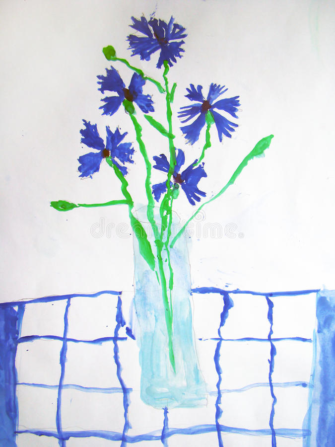 Flores azuis em um vidro - pintado pela criança ilustração do vetor