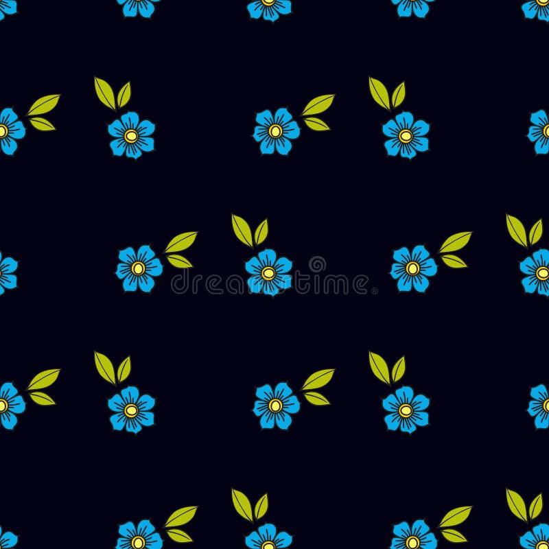 Flores azuis na tatuagem do estilo antigo Teste padrão sem emenda floral em um fundo preto Textura ilustração royalty free