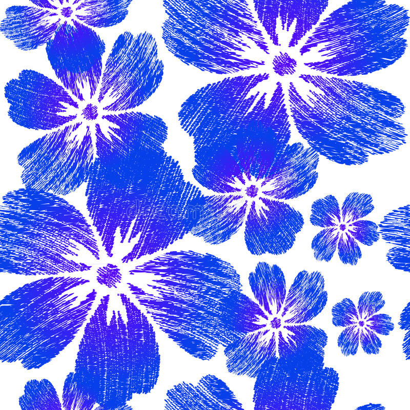 Flores azules bordadas en modelo inconsútil del fondo blanco fotos de archivo libres de regalías