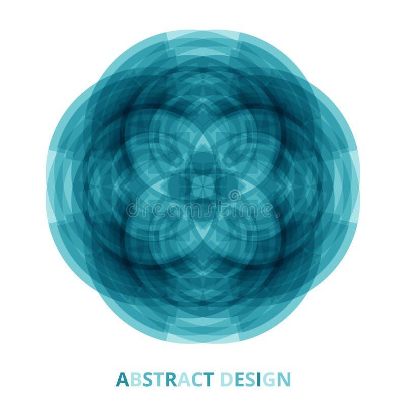 Flores azules brillantes redondas de la mandala tecnológica en fondo aislado Vector ilustración del vector