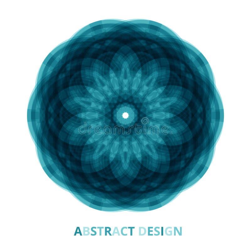 Flores azules brillantes redondas de la mandala tecnológica en fondo aislado Vector libre illustration