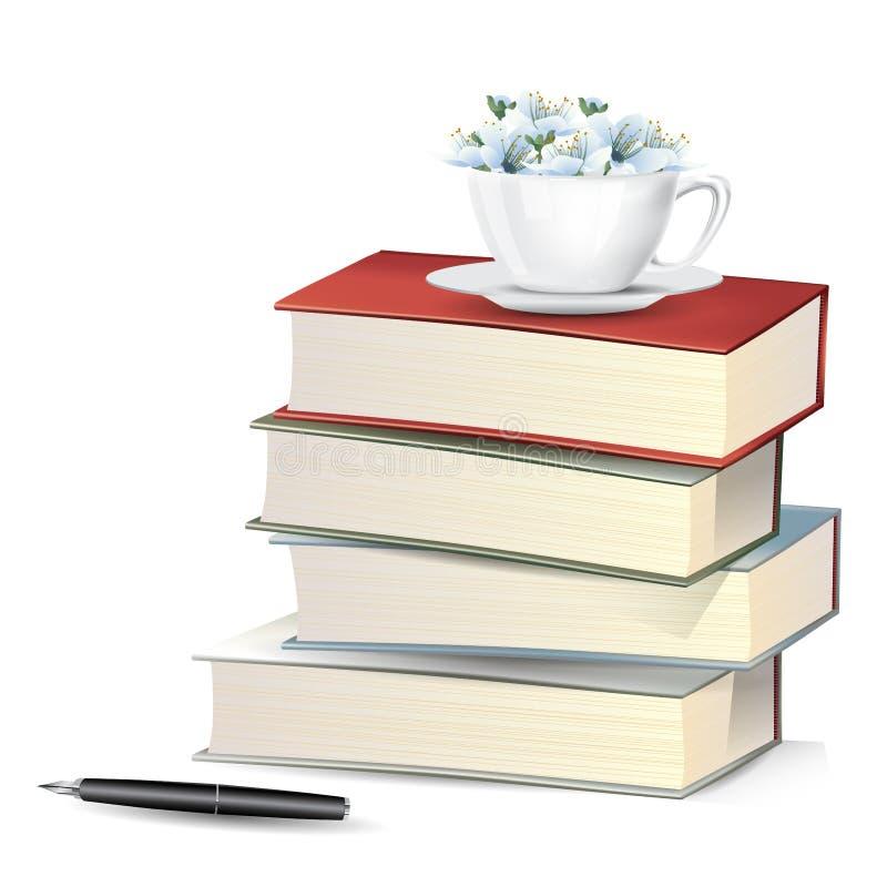 Flores azules de la flor en taza en pila de los libros con la pluma foto de archivo libre de regalías
