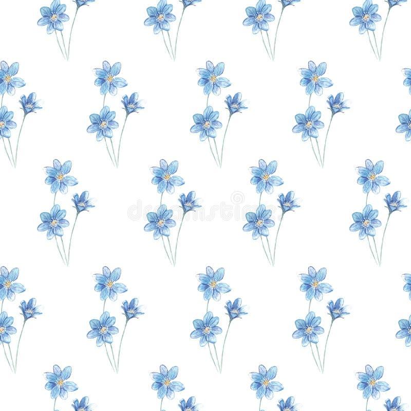 Flores azules del modelo del ejemplo stock de ilustración
