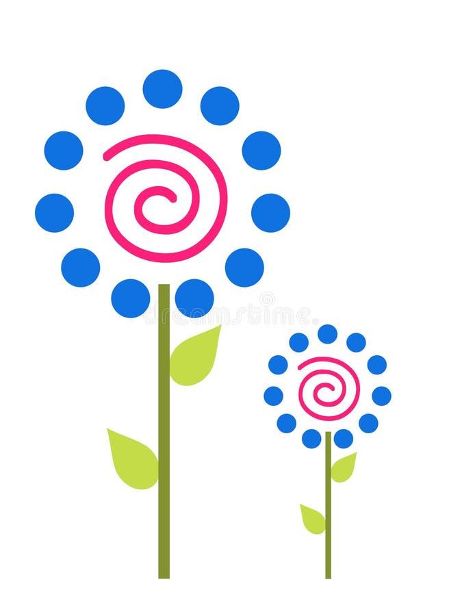 Flores azules del punto de polca stock de ilustración