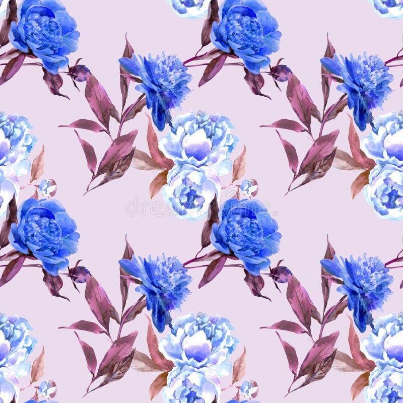 Flores azules en fondo rosado ilustración del vector