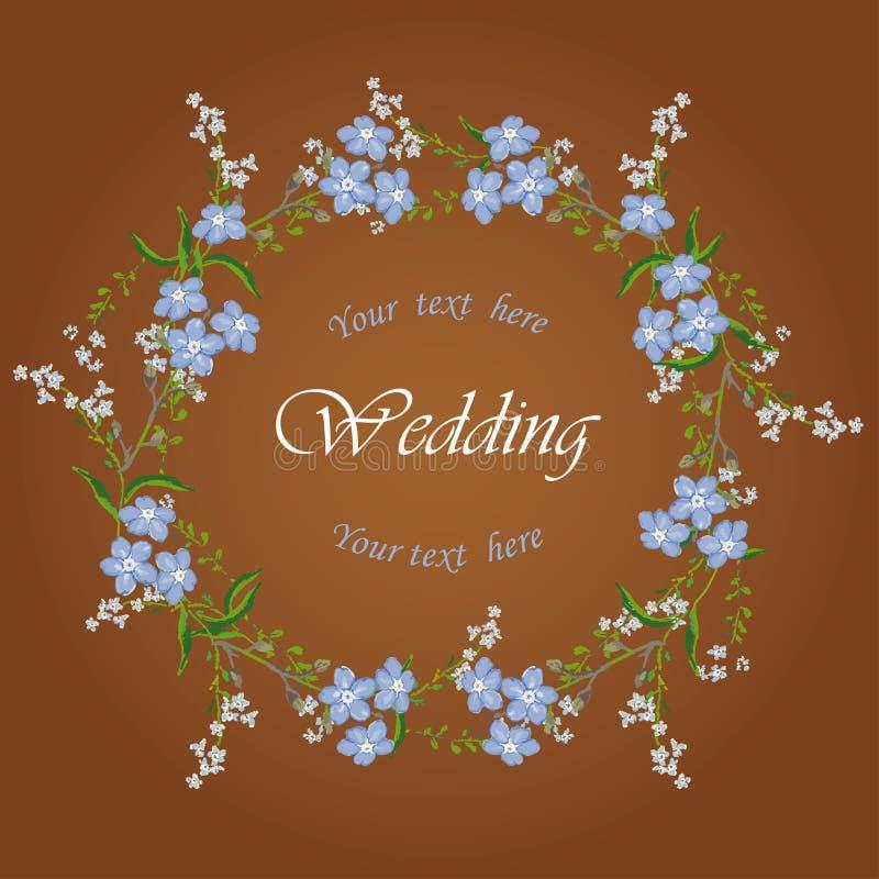 Flores azules en marco ilustración del vector