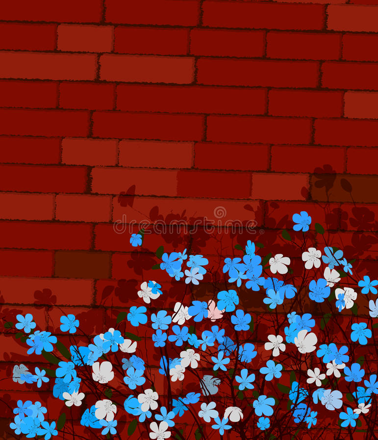 Flores Azules En Una Pared Foto de archivo
