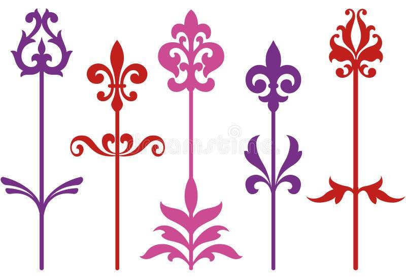 Flores barrocas decorativas ilustração do vetor