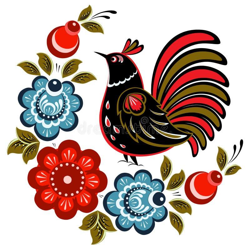 Flores, baya y ornamento tradicionales de los pájaros libre illustration