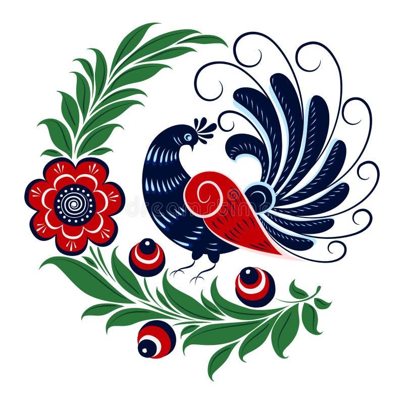 Flores, baya y ornamento tradicionales de los pájaros stock de ilustración