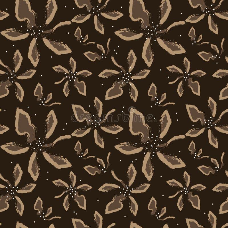Flores beige del arte abstracto en un fondo marrón libre illustration