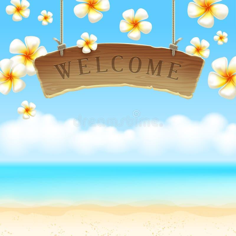 Flores bem-vindas do anf do quadro indicador na praia tropical ilustração royalty free