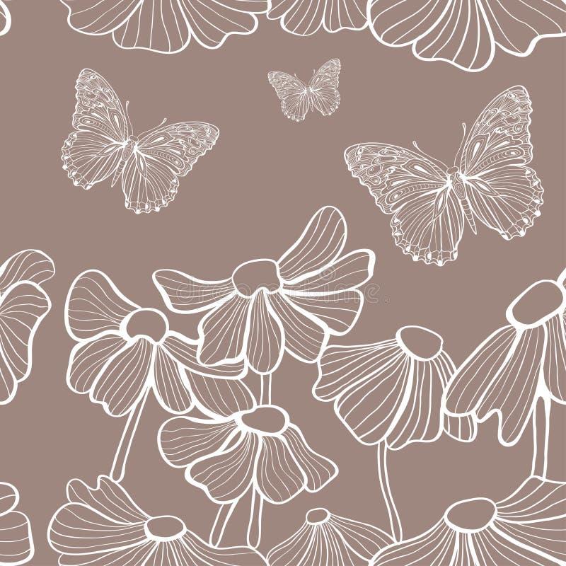 Flores blancas decorativas y mariposa inconsútiles libre illustration