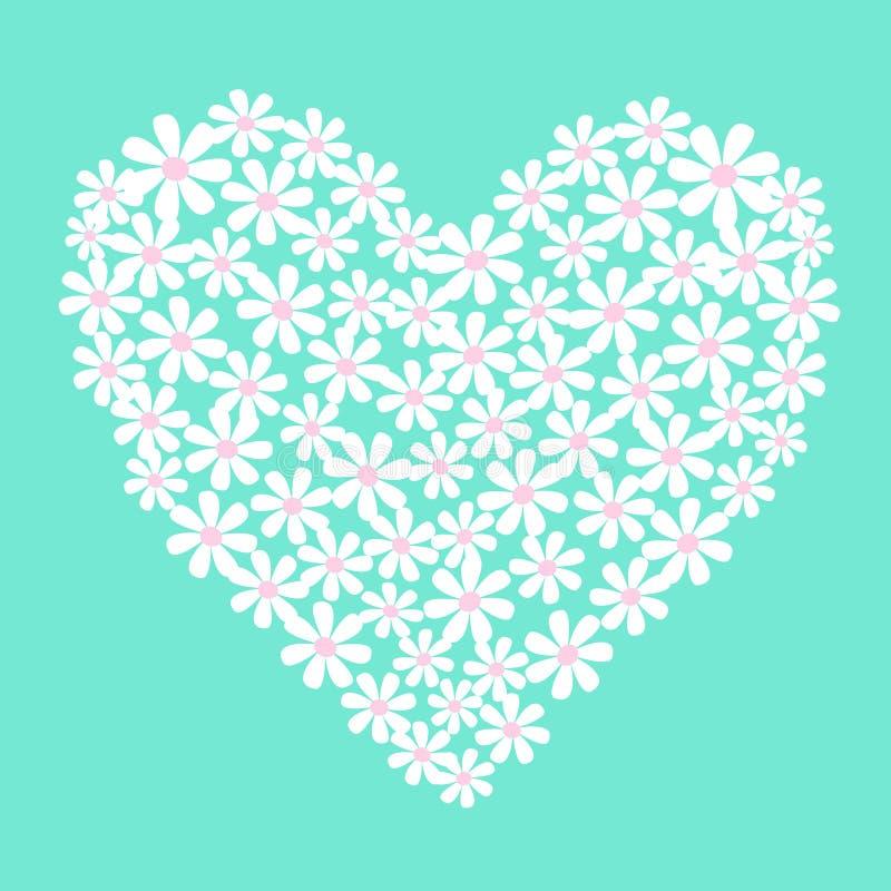 Flores blancas del vector en dimensión de una variable del corazón ilustración del vector