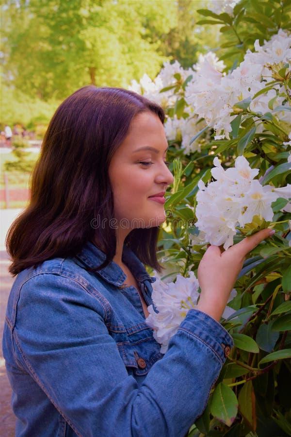Flores blancas el oler de la mujer joven en el parque imagen de archivo