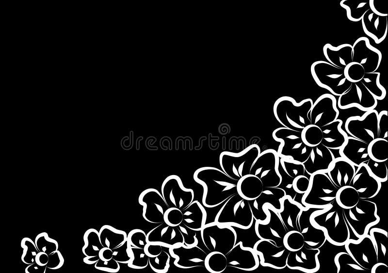 Flores blancas en un fondo negro stock de ilustración