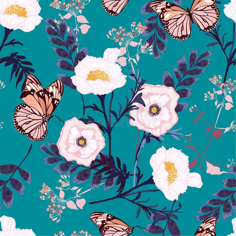 Flores blancas florecientes del modelo inconsútil floral con textura del vector de los adornos del jardín botánico de la mariposa ilustración del vector