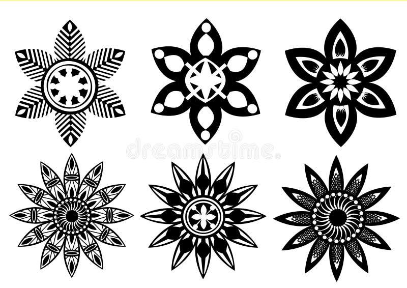 Flores blancas negras de los colores stock de ilustración