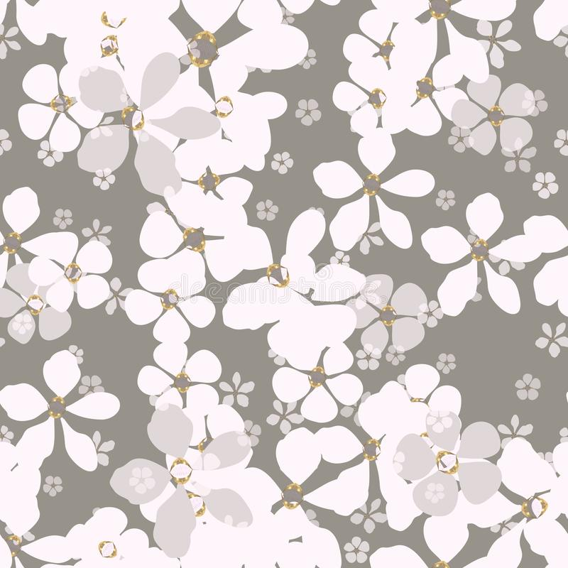 Flores blancas y grises grandes y pequeñas con base del oro en fondo pálido stock de ilustración