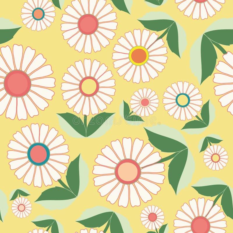 Flores blancas y hojas verdes en diseño floral del arte popular Modelo inconsútil del vector en fondo amarillo fresco Grande para ilustración del vector