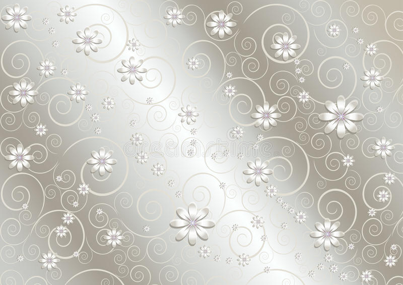Flores blancas y líneas torcidas en fondo del gris del satén ilustración del vector
