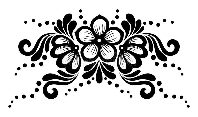 Flores blancos y negros y hojas del cordón aisladas en blanco. Elemento del diseño floral en estilo retro. ilustración del vector