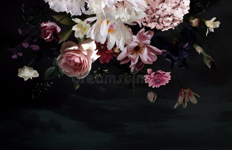 Flores bonitas do jardim Cart?o floral do vintage ilustração stock