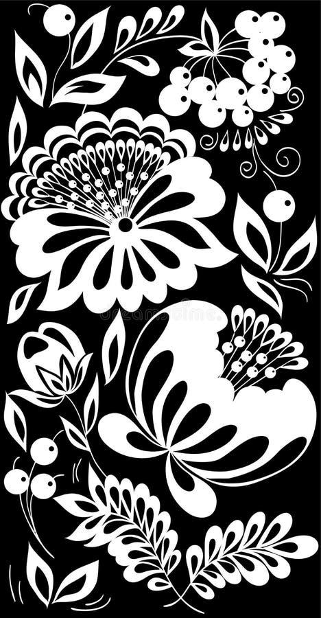 Flores bonitas e folhas preto e branco monocromáticas isoladas ilustração stock