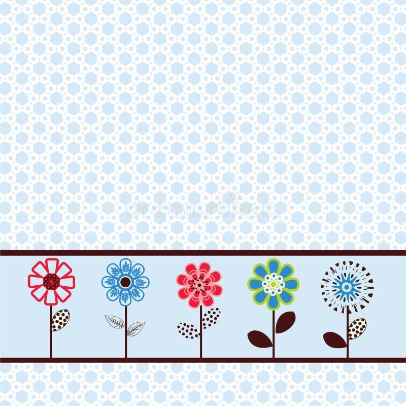 Flores bonitas em uma fileira ilustração royalty free