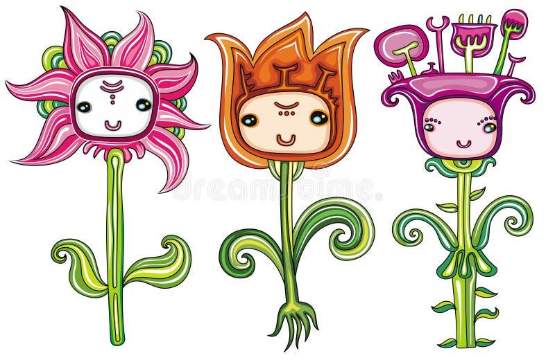 Flores bonitos com faces engraçadas ilustração stock