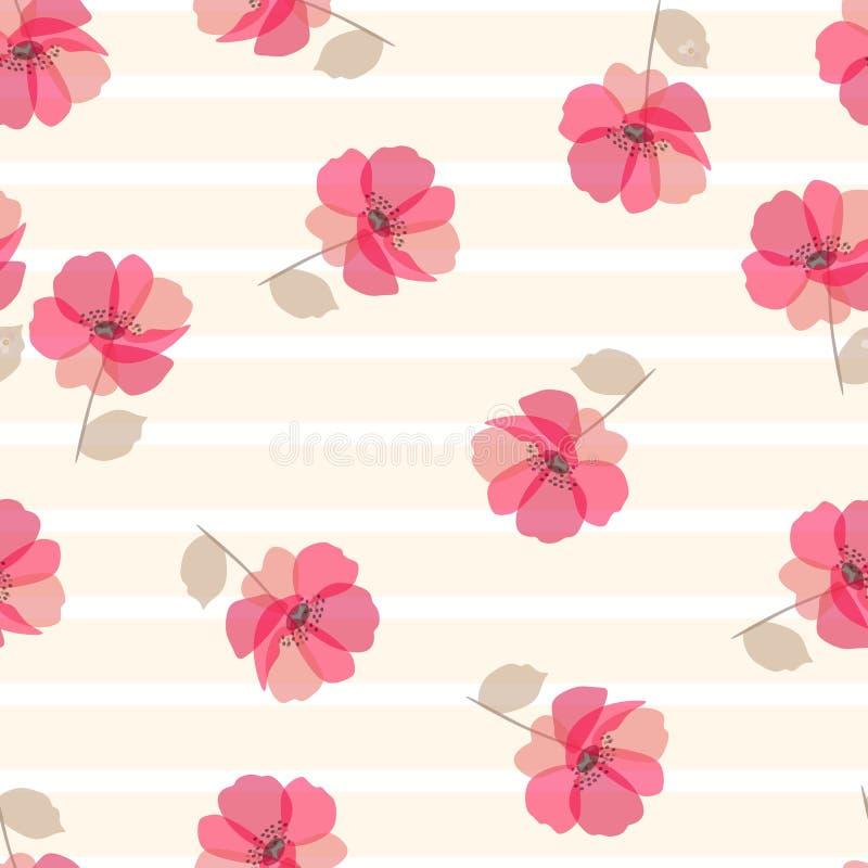 Flores bonitos da papoila no fundo listrado bege e branco C?pia sem emenda para a tela ilustração do vetor