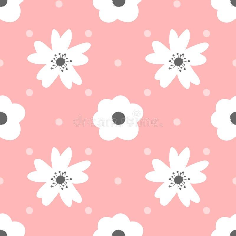 Flores bonitos e às bolinhas Teste padrão sem emenda para meninas ilustração do vetor