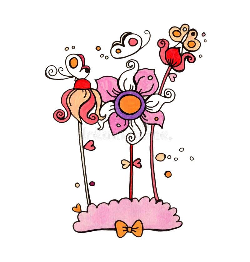 Flores bonitos e borboletas ilustração do vetor