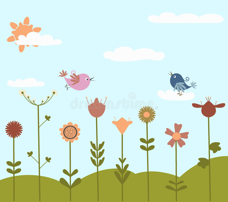 Flores bonitos e pássaros ilustração do vetor
