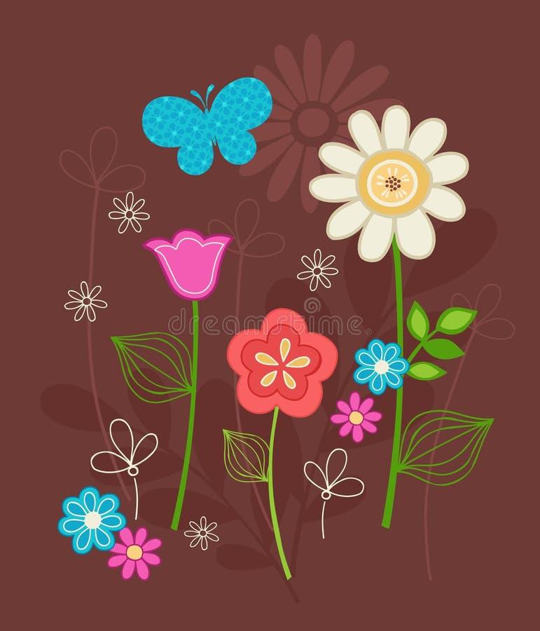 Flores bonitos e vetor dos Doodles da borboleta ilustração royalty free