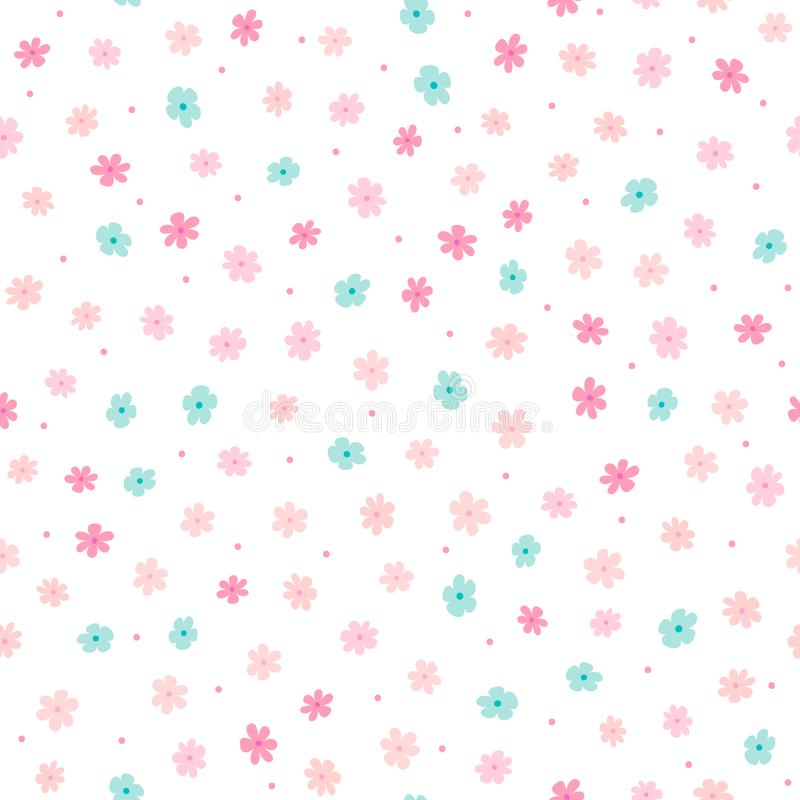 Flores bonitos pequenas repetidas e pontos redondos Teste padrão floral feminino simples Cópia feminino infinita ilustração do vetor