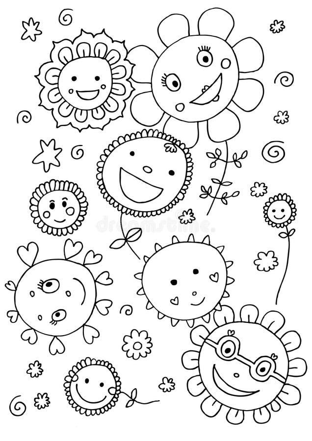 Flores bonitos que colorem a página ilustração stock
