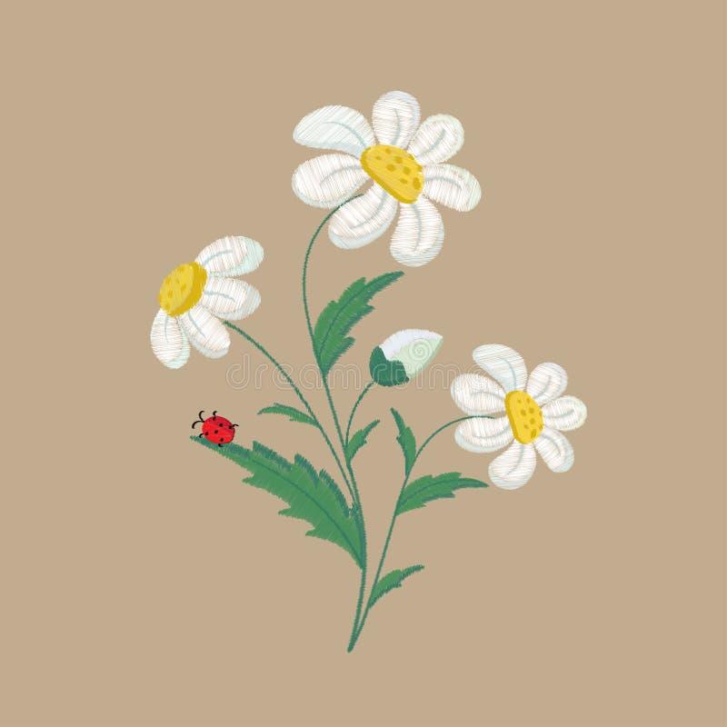 Flores bordadas de la manzanilla en un fondo marrón Ilustraci?n del vector libre illustration
