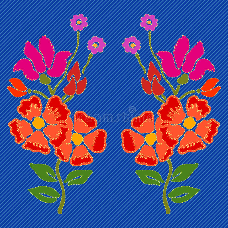 Flores bordadas para el dril de algodón ilustración del vector