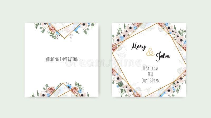 Flores botánicas del diseño de la plantilla de la tarjeta de la invitación de la boda, blancas y rosadas Sistema de la plantilla  ilustración del vector