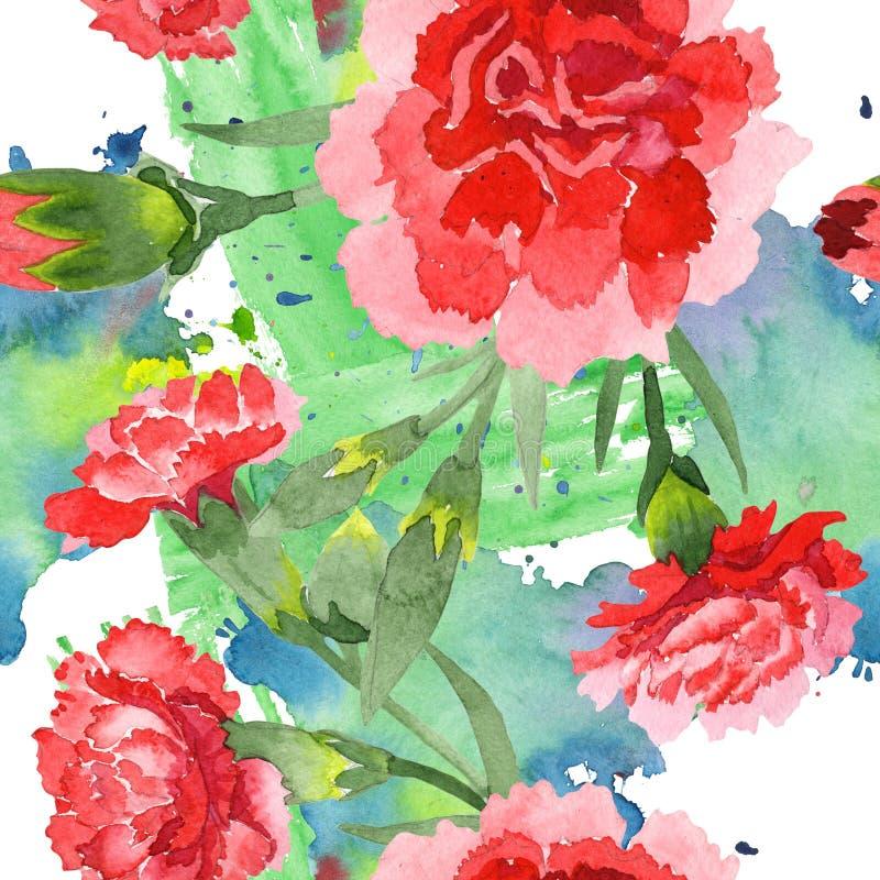 Flores botánicas florales del clavel rojo Sistema del ejemplo del fondo de la acuarela Modelo incons?til del fondo fotos de archivo libres de regalías