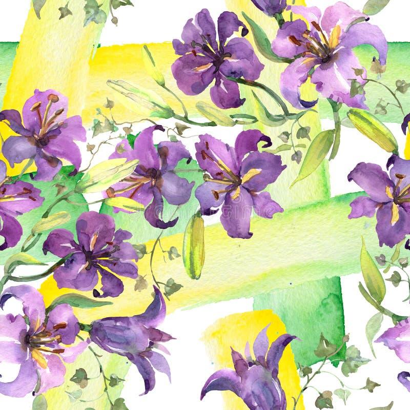 Flores botánicas florales del ramo púrpura del lirio Sistema del ejemplo del fondo de la acuarela Modelo incons?til del fondo stock de ilustración