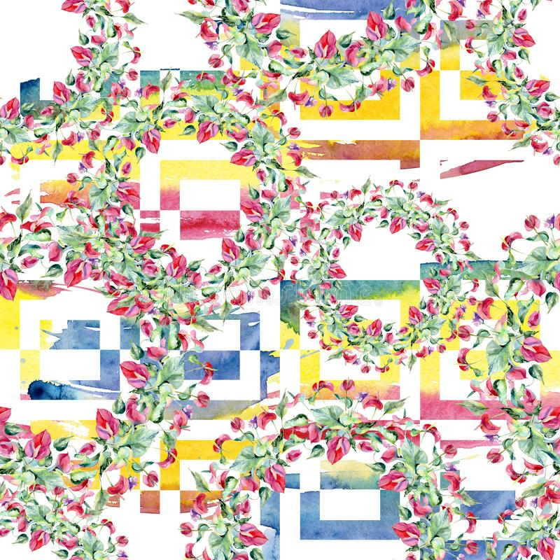 Flores botánicas florales del spathiphyllum del rosa Sistema del ejemplo del fondo de la acuarela Modelo inconsútil del fondo libre illustration